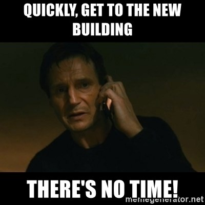 liam neeson taken - quickly, get to the new building there's no time!