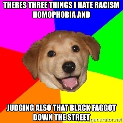 Advice Dog - Theres three things i hate racism homophobia and  Judging Also that black faggot down the street