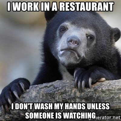 Confession Bear - i work in a restaurant i don't wash my hands unless someone is watching