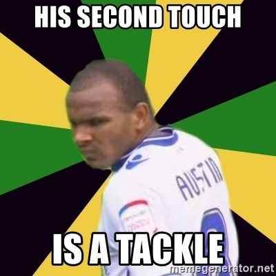 Rodolph Austin - his second touch is a tackle