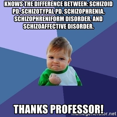 Success Kid - Knows the difference between: schizoid pd, schizotypal pd, schizophrenia, schizophreniform disorder, and schizoaffective disorder. thanks professor!
