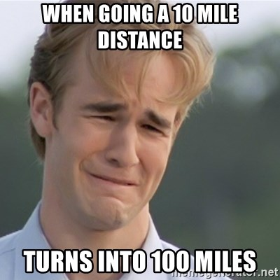 Dawson's Creek - when going a 10 mile distance turns into 100 miles