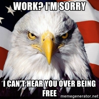 Freedom Eagle  - Work? I'm sorry I can't hear you over being free