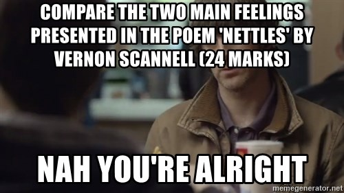 nah you're alright - compare the two main feelings presented in the poem 'nettles' by vernon scannell (24 marks) Nah you're alright