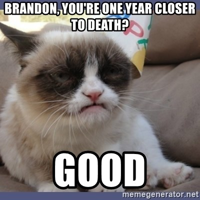 Birthday Grumpy Cat - Brandon, You're one year closer to death? Good