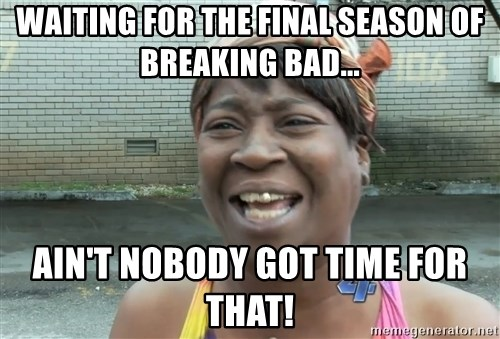 Ain`t nobody got time fot dat - waiting for the final season of breaking bad... ain't nobody got time for that!