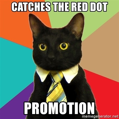 Business Cat - Catches the red dot promotion