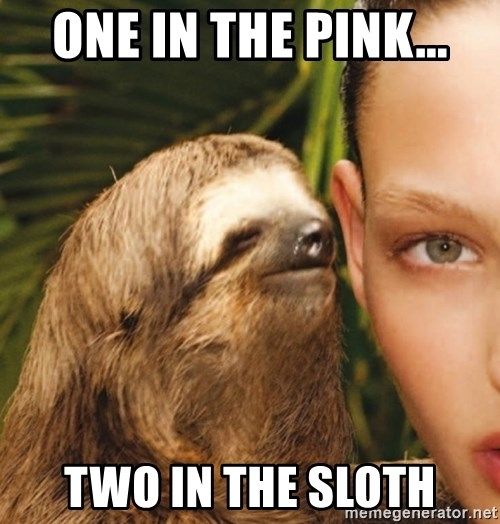 The Rape Sloth - one in the pink... two in the sloth