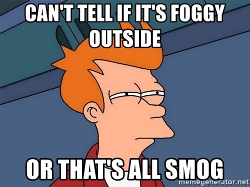 Futurama Fry - Can't tell if it's foggy outside  or that's all smog