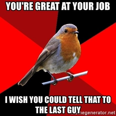 Retail Robin - You're great at your job I wish you could tell that to the last guy