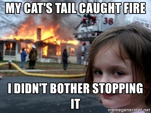 Disaster Girl - My cat's tail caught fire I didn't bother stopping it