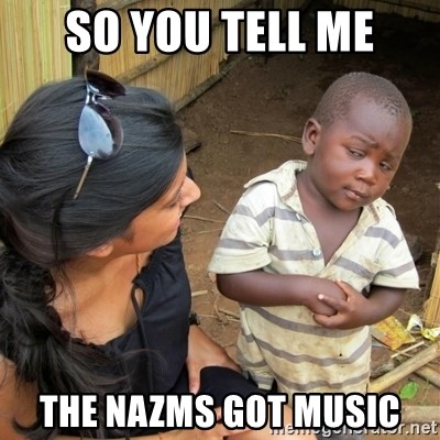 skeptical black kid - SO YOU TELL ME THE NAZMS GOT MUSIC