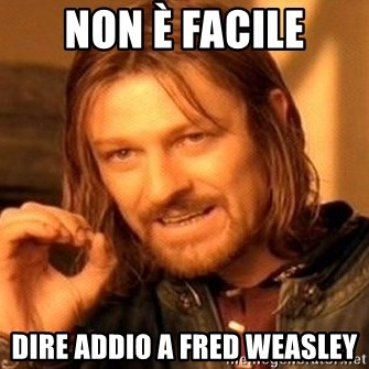 One Does Not Simply - Non è faCiLe Dire addio a fred weasley