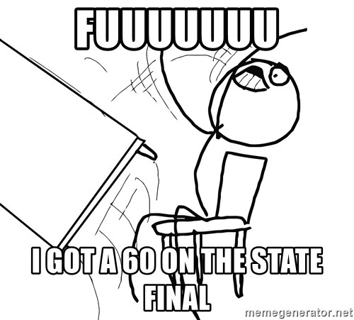 Desk Flip Rage Guy - FUUUUUUU I GOT A 60 ON THE STATE FINAL