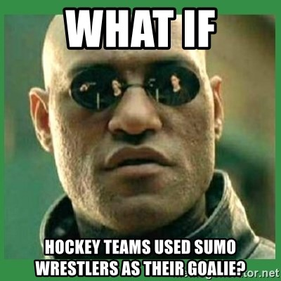 Matrix Morpheus - What if hockey teams used sumo wrestlers as their goalie?