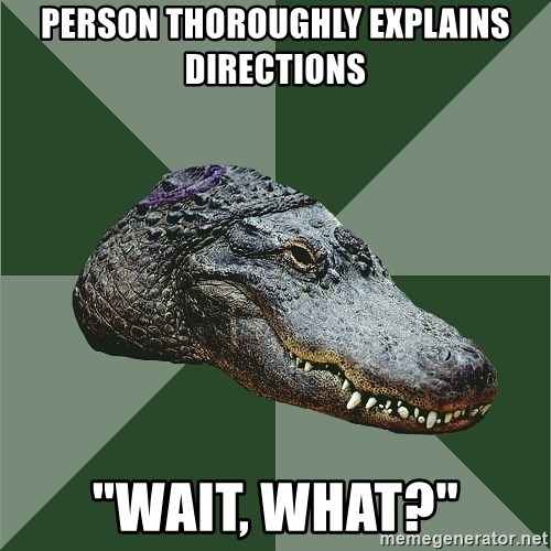 """Aspie Alligator - Person Thoroughly explains directions """"wait, what?"""""""