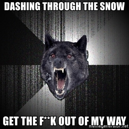 flniuydl - dashing through the snow get the f**k out of my way