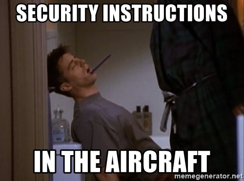 Bored sleeping Joey - Security instructions in the aircraft