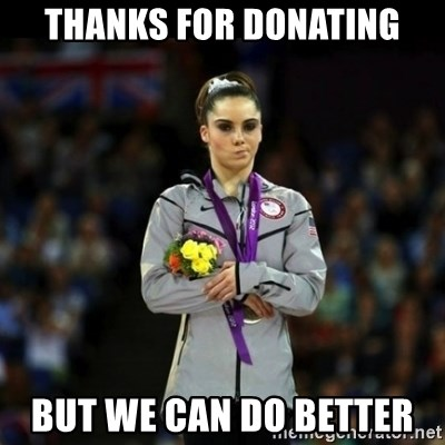 Unimpressed McKayla Maroney - thanks for donating but we can do better