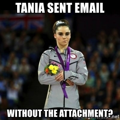 Unimpressed McKayla Maroney - tania sent email without the attachment?