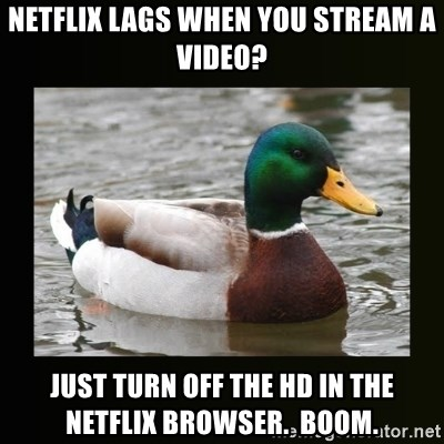 good advice duck - Netflix lags when you stream a video? Just turn off the hd in the netflix browser.  boom.