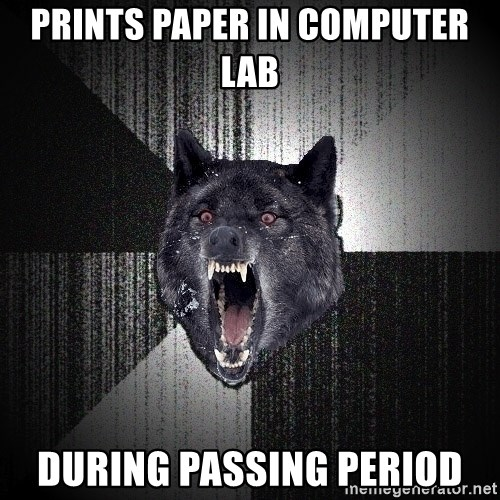 Insanity Wolf - prints paper in computer lab during passing period