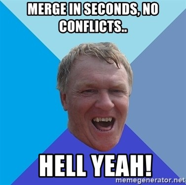YAAZZ - Merge in seconds, no conflicts..  hell yeah!
