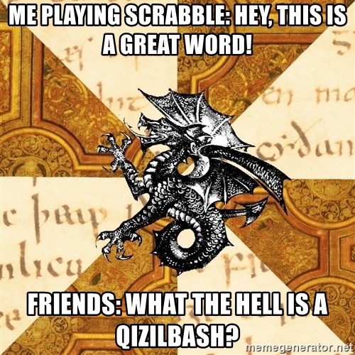 History Major Heraldic Beast - Me playing scrabble: Hey, this is a great word! Friends: What the hell is a Qizilbash?