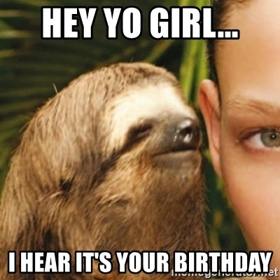 Whispering sloth - HEY YO GIRL... I HEAR IT'S YOUR BIRTHDAY