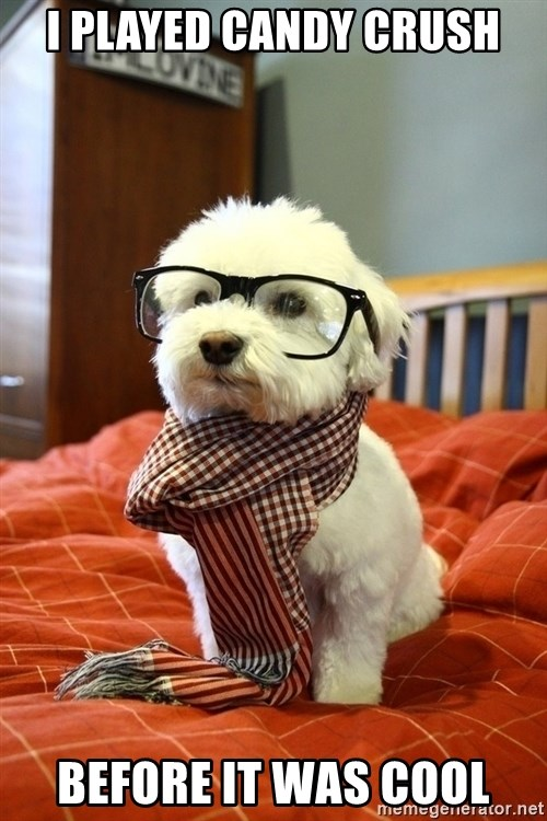 hipster dog - I PLAYED CANDY CRUSH BEFORE IT WAS COOL