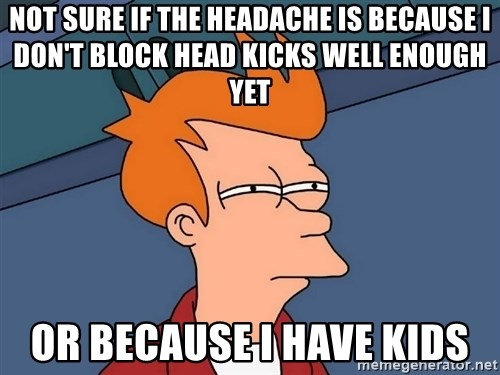Futurama Fry - not sure if the headache is because I don't block head kicks well enough yet or because I have kids