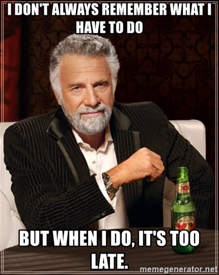 The Most Interesting Man In The World - I don't always remember what i have to do but when i do, it's too late.