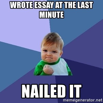Success Kid - wrote essay at the last minute nailed it