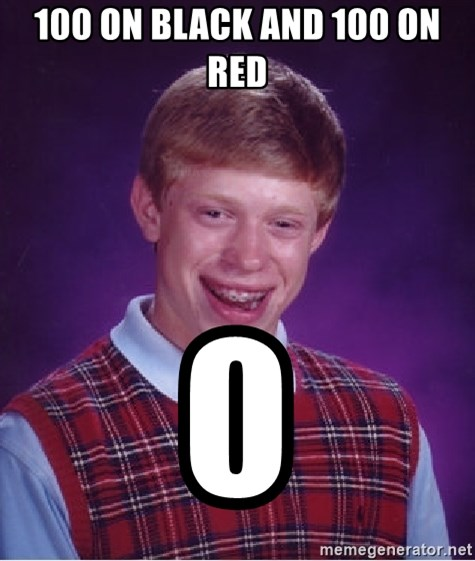Bad Luck Brian - 100 ON BLACK AND 100 ON RED  0
