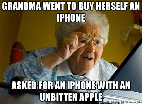 Internet Grandma Surprise - Grandma went to buy herself an iphone Asked for an iphone with an unbitten apple