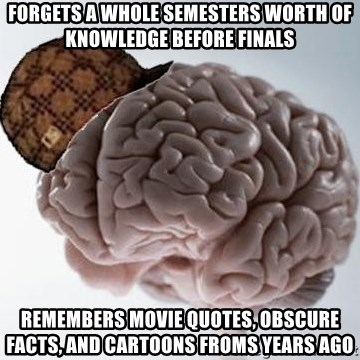 Scumbag Brain - Forgets a whole semesters worth of knowledge before finals remembers movie quotes, obscure facts, and cartoons froms years ago