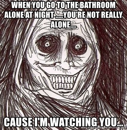 Shadowlurker - when you go to the bathroom alone at night .....you're not really alone.... cause i'm watching you...