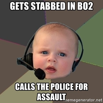 FPS N00b - GEts stabbed in BO2 Calls the police for assault