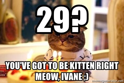 Birthday Cat - 29? you've got to be kitten right meow, ivane ;)