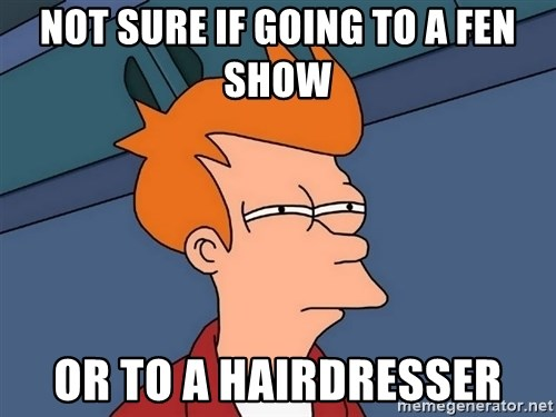 Futurama Fry - Not sure if going to a fen show or to a hairdresser
