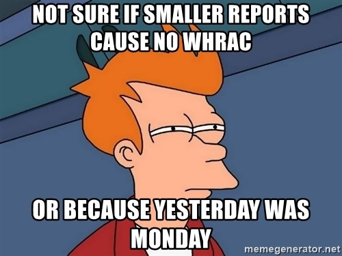 Futurama Fry - not sure if smaller reports cause no whrac or because yesterday was monday