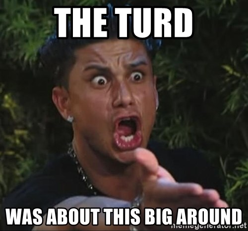 Pauly D - the turd was about this big around