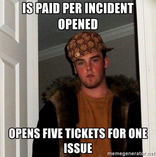 Scumbag Steve - Is paid per incident opened Opens five tickets for one issue
