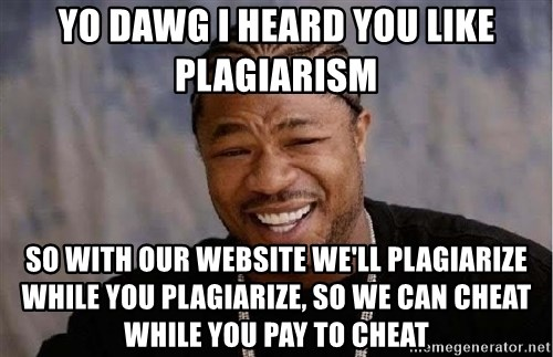 Yo Dawg - yo dawg i heard you like plagiarism So with our website we'll plagiarize while you plagiarize, so we can cheat while you pay to cheat