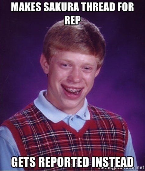 Bad Luck Brian - Makes sakura thread for rep gets reported instead
