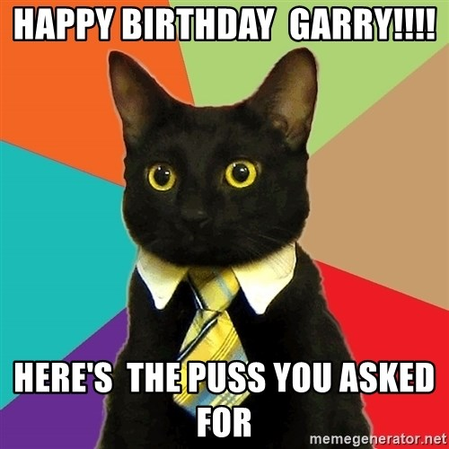 Business Cat - Happy birthday  Garry!!!! Here's  the puss you asked for