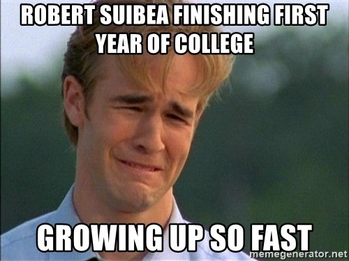 Crying Man - RObert suibea finishing first year of college Growing up so fast