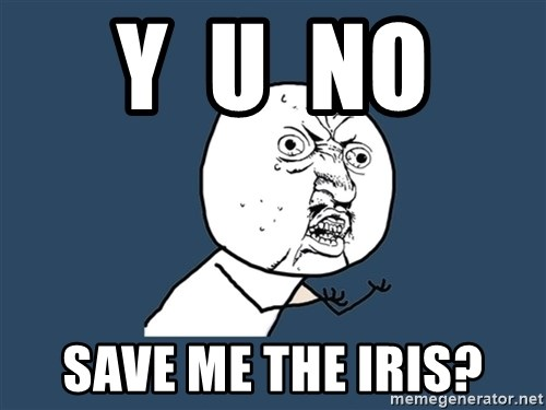 Y U No - y  u  no  save me the iris?