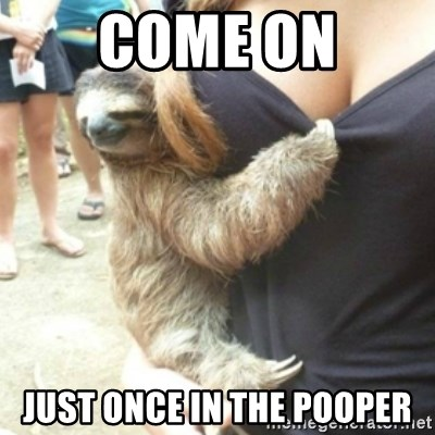 Perverted Sloth - come on just once in the pooper