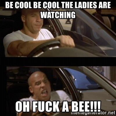 Vin Diesel Car - be cool be COOL the ladies are WATCHING oh fuck a BEE!!!
